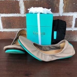 Tieks Taupe ballet flats flower box bag size 5